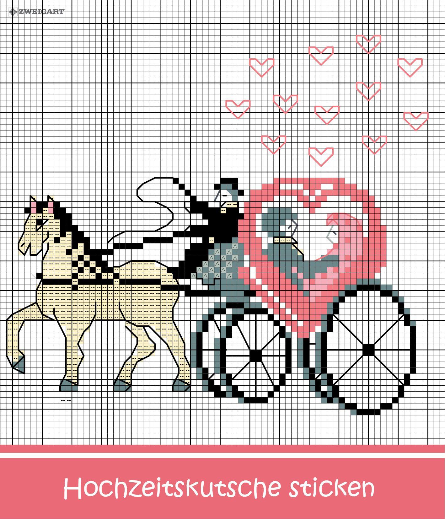 Romantische hochzeitskutsche mit herzen sticken sticken for Sticken vorlagen kostenlos