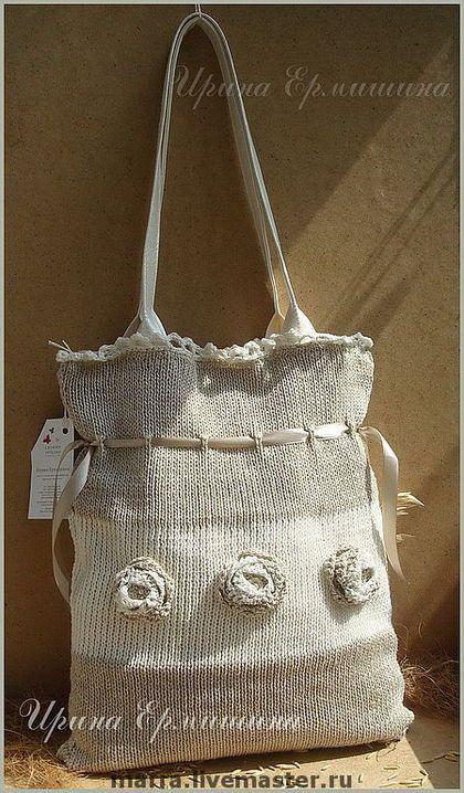 """Сумка вязаная """"Лён"""" - лен,льняной,льняная сумка,льняные изделия,льняная одежда"""