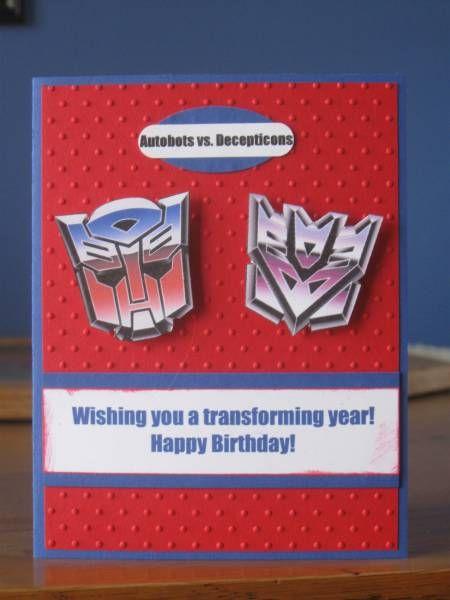 Transformer Card Transformers And Trucks 002 By Klwco Jpg Card Making Kids Transformer Birthday Cards