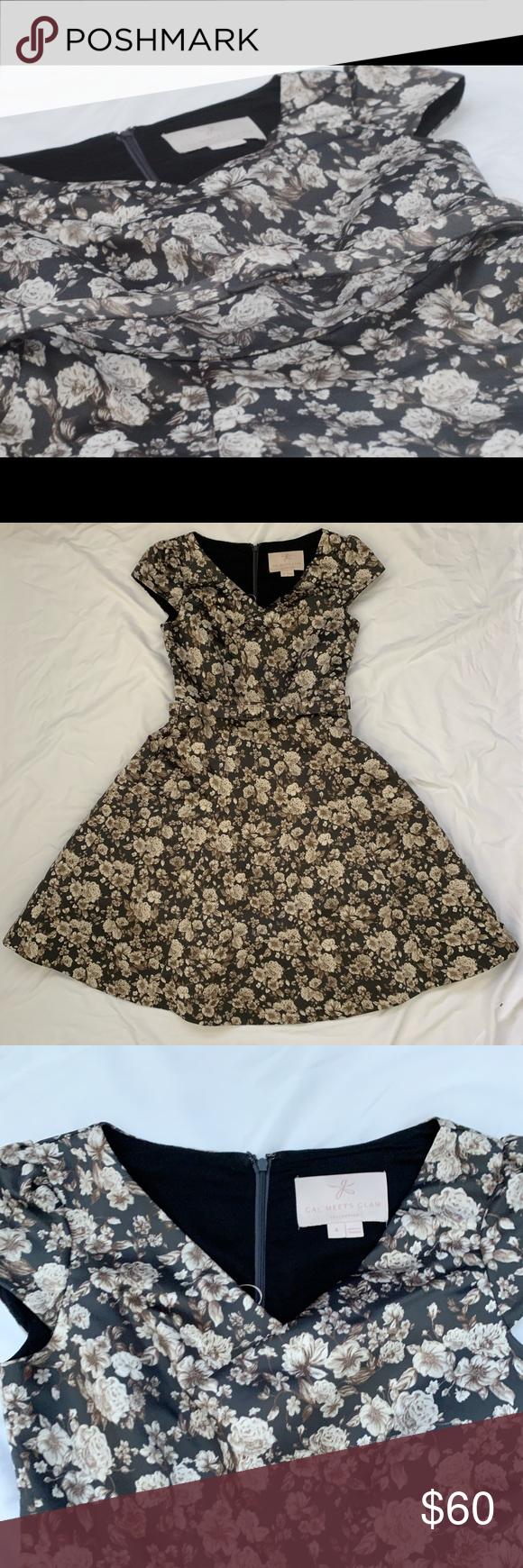 Elle Brightex Duchess Satin Dress Coffee/Taupe Floral Midi Dress, Worn Once Gal Meets Glam Dresses Midi
