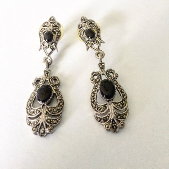 Vintage Black Onyx Sparkling Marcasite Chandelier Earrings 2 In Length And Absolutely Charming Circa 1950s 60s Sterling Silver Posts