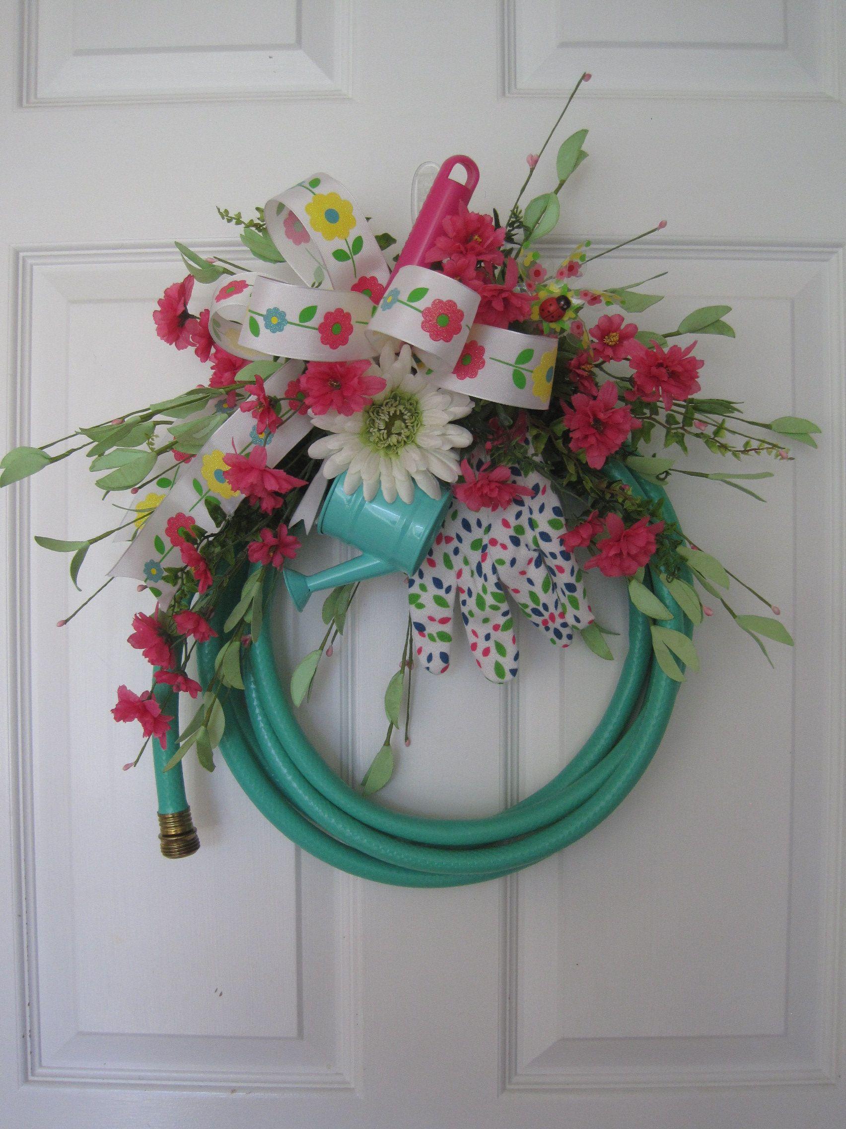 Photo of Spring Green Garden Hose Wreath, Fun Florals Custom Design, Spring Wreath, Summer Wreath, Watering Can, Gift Wrap