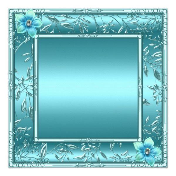 Quinceañera 15th Teal Blue Flower Silver Tiara Invitation