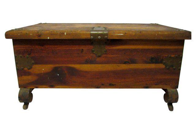 Antique Cedar & Walnut Trunk