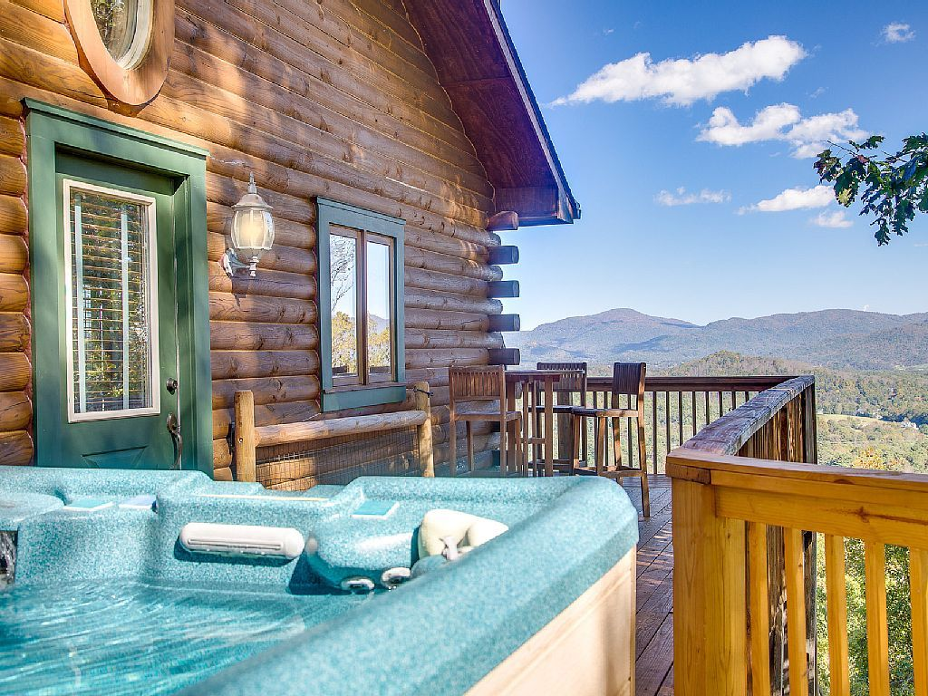 This log cabin has it all! Awe-inspiring views from the cabin afforded by being near the top of the mountain. It's minutes from a multitude of shopping and dining choices in convenient South Asheville, 20 minutes ...