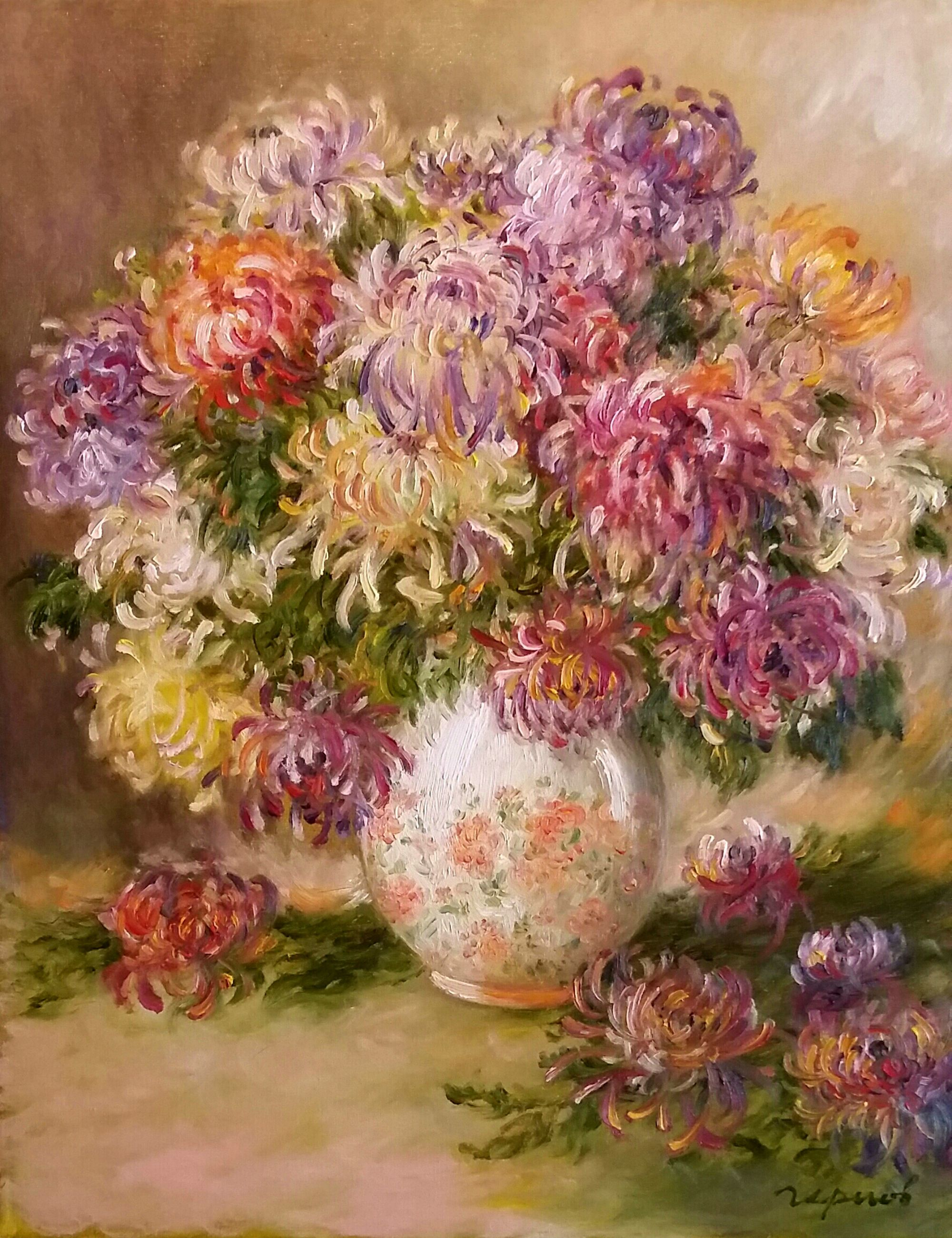Chrysanthemums In A Porcelain Vase Painting Chrysanthemum Painting Flower Painting Floral Painting