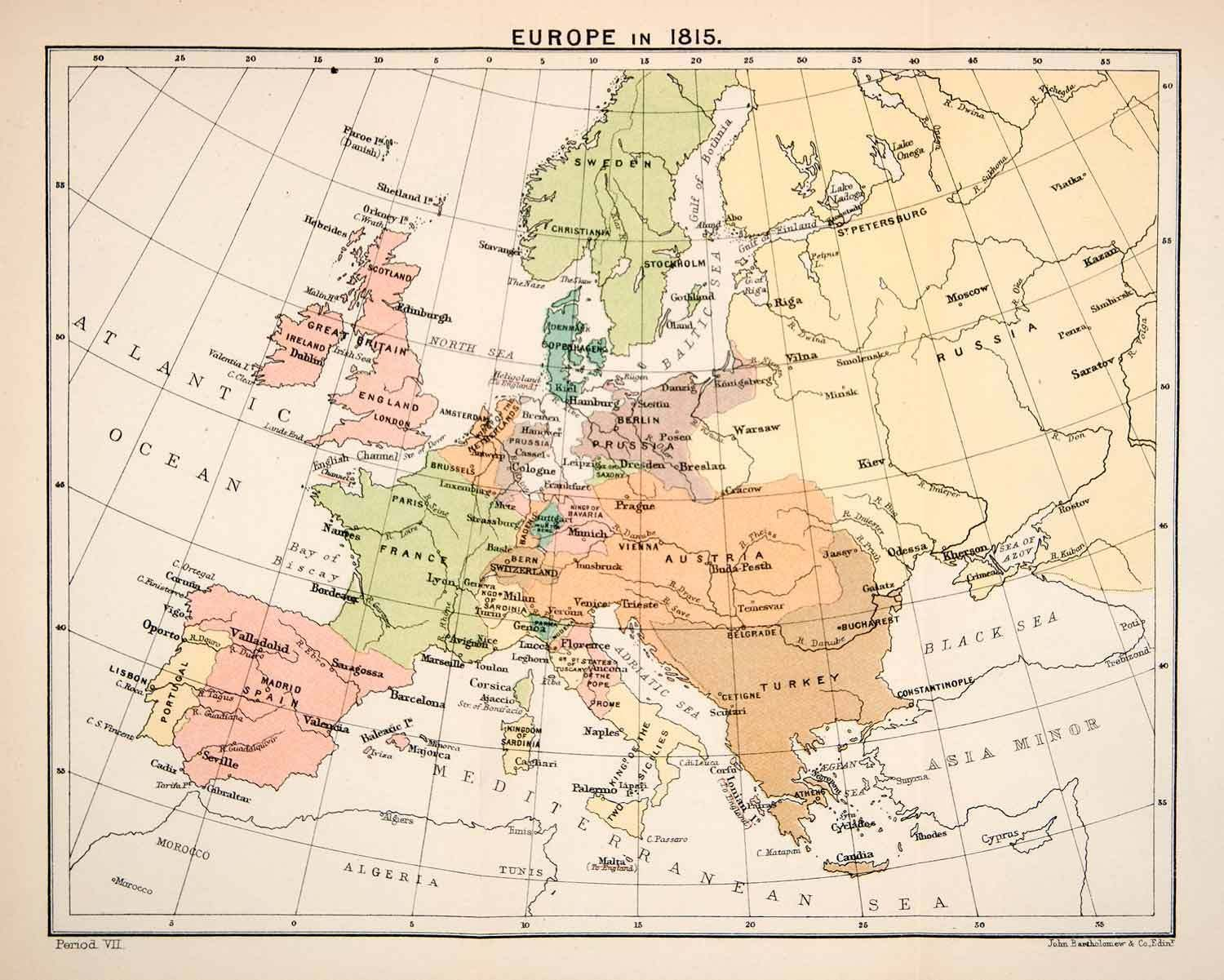Map Of England France And Spain.1897 Print Map Europe 1815 Great Britain France Spain Prussia