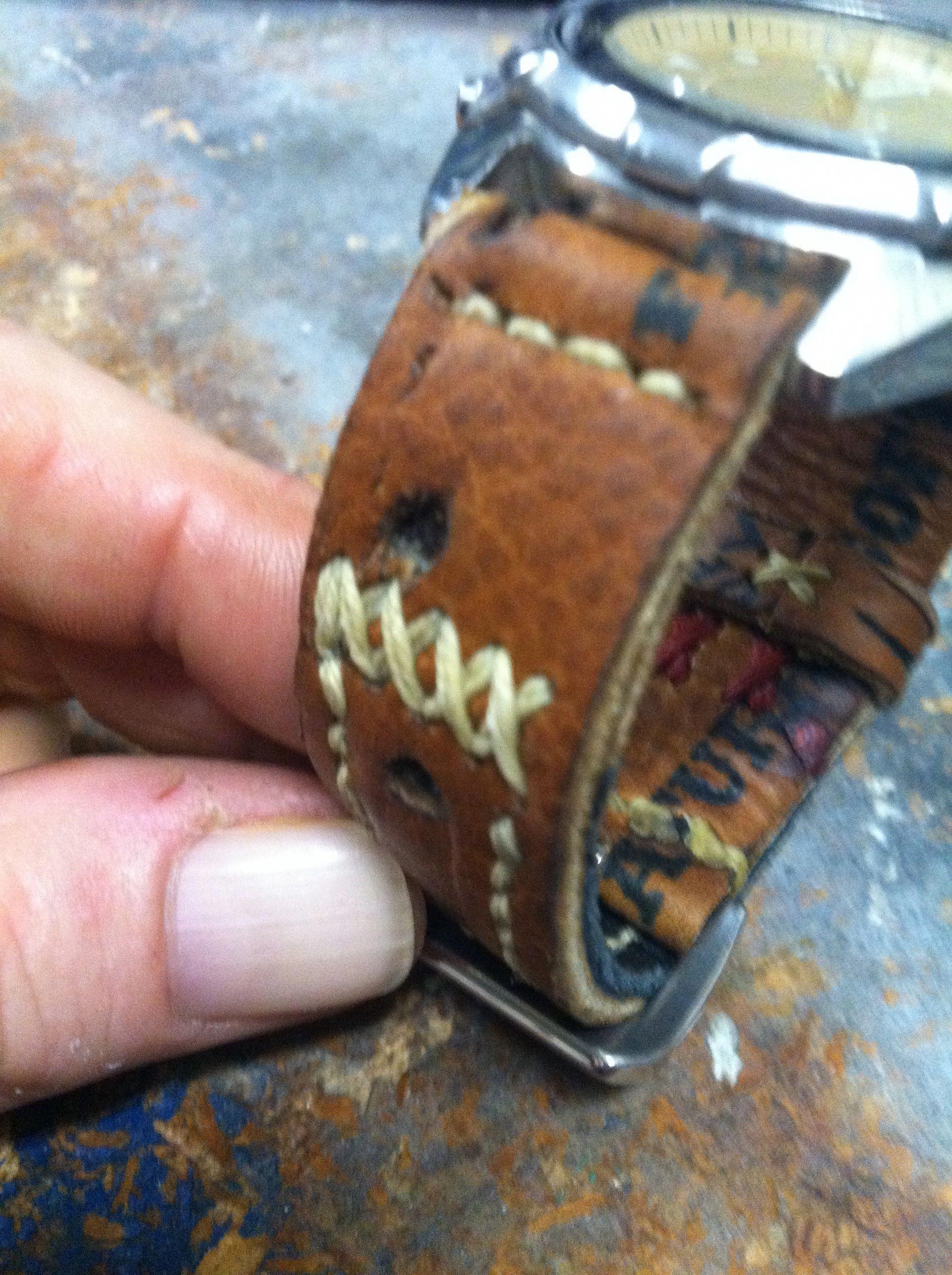 Repurposed Baseball Glove Into A Watchband Baseballgloves Watch Bands Repurposed Baseball Glove