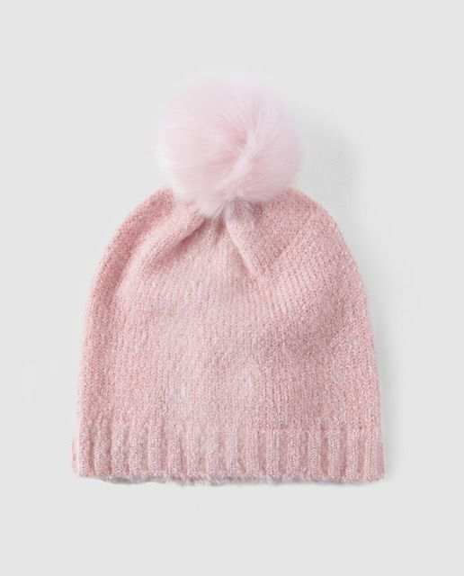 Gorro de hilo lurex de niña Freestyle con pompón rosa  8adad478519