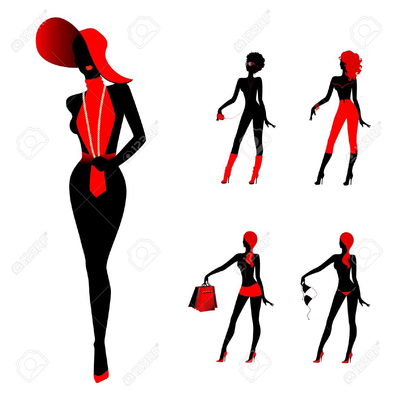 7004929 set of beautiful silhouettes of girls stock vector rh pinterest com Fat Lady Silhouette Fat Lady Silhouette