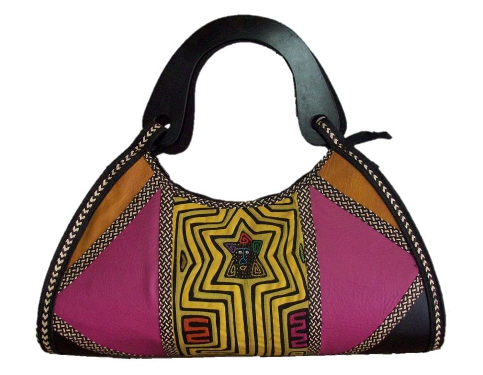 HAND-BAG MADE FROM WOVEN ARROW CANE & SYNTHETIC LEATHER IN VARIOUS COLORS.