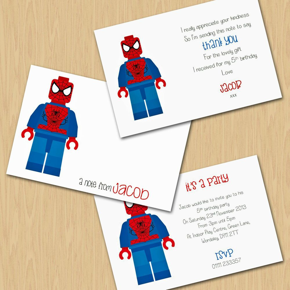 Pck 10 Personalised Lego Marvel heroes Spiderman Thank you cards or ...