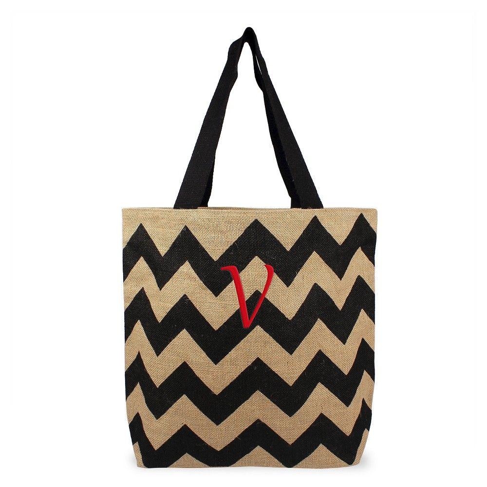 Large tote bags at target - Women S Monogram Black Chevron Natural Jute Tote Bags V Size Large Black