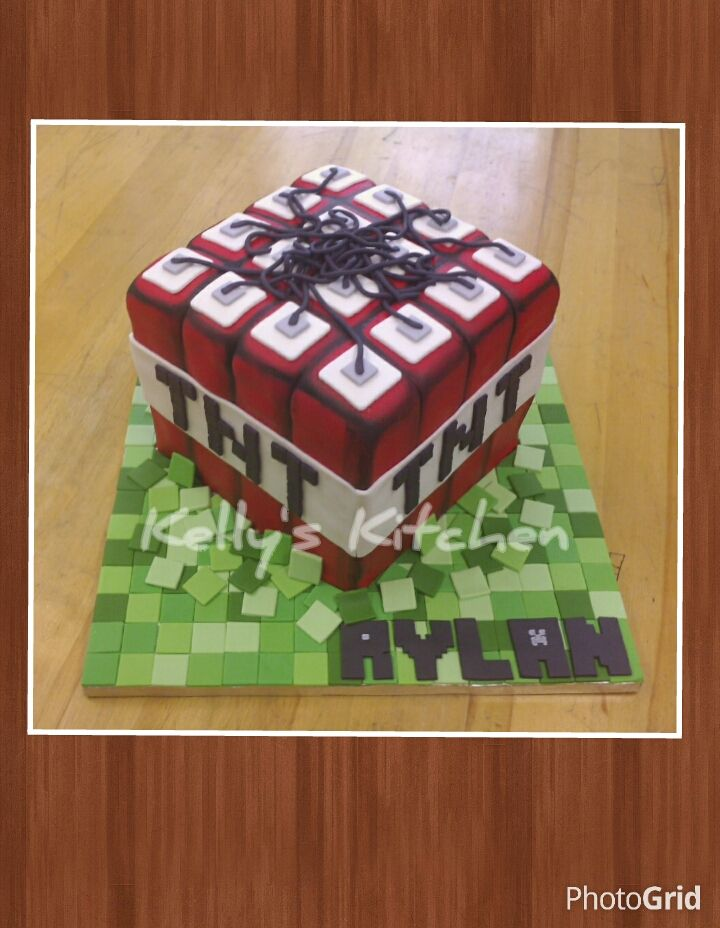 Minecraft TNT birthday cake. All the details are made from ...