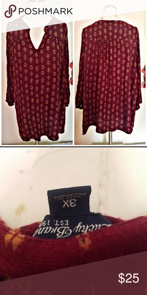 a96d45a603c Lucky brand plus size 3X boho top 3/4 sleeve Lucky Brand Tops Tunics ...