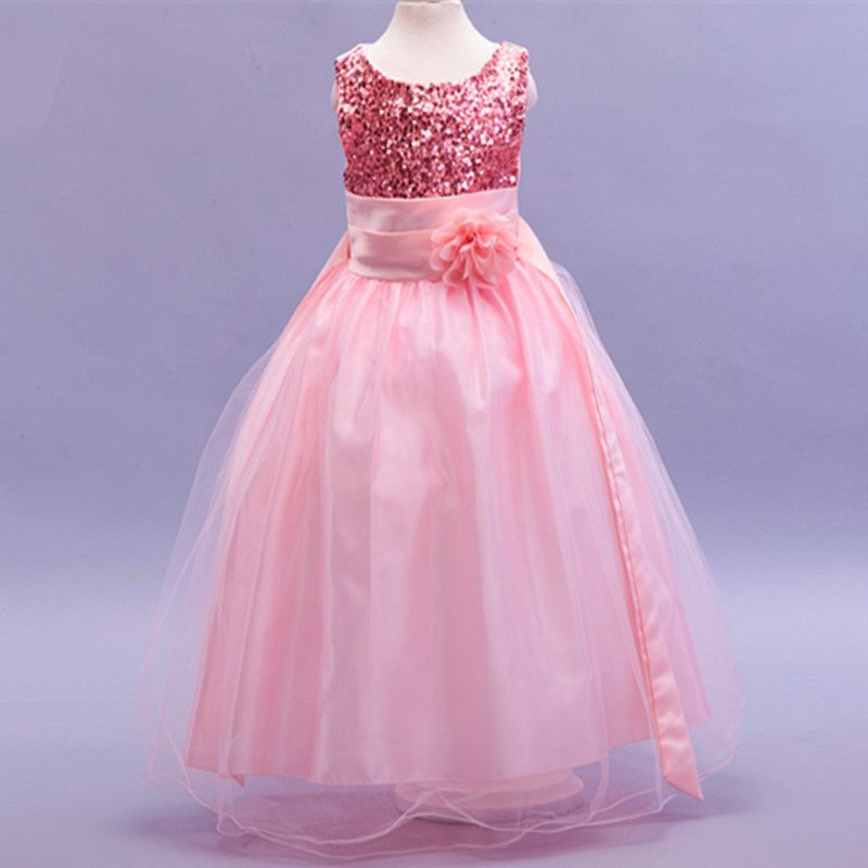 d61cb0c1ff74 Flower girl dresses new year birthday christmas long belt sequin ...