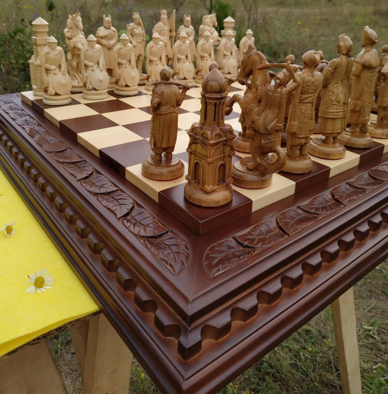 Wooden Chess Set Board Pieces Exclusive Handmade Big Large Etsy Wooden Chess Pieces Wooden Chess Set Wooden Chess