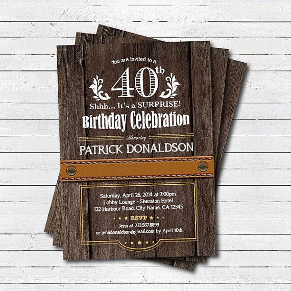 Surprise 40th Birthday Invitation Man Men Rustic Wood 30th 50th 60th Party Printable Digital Invite AB028