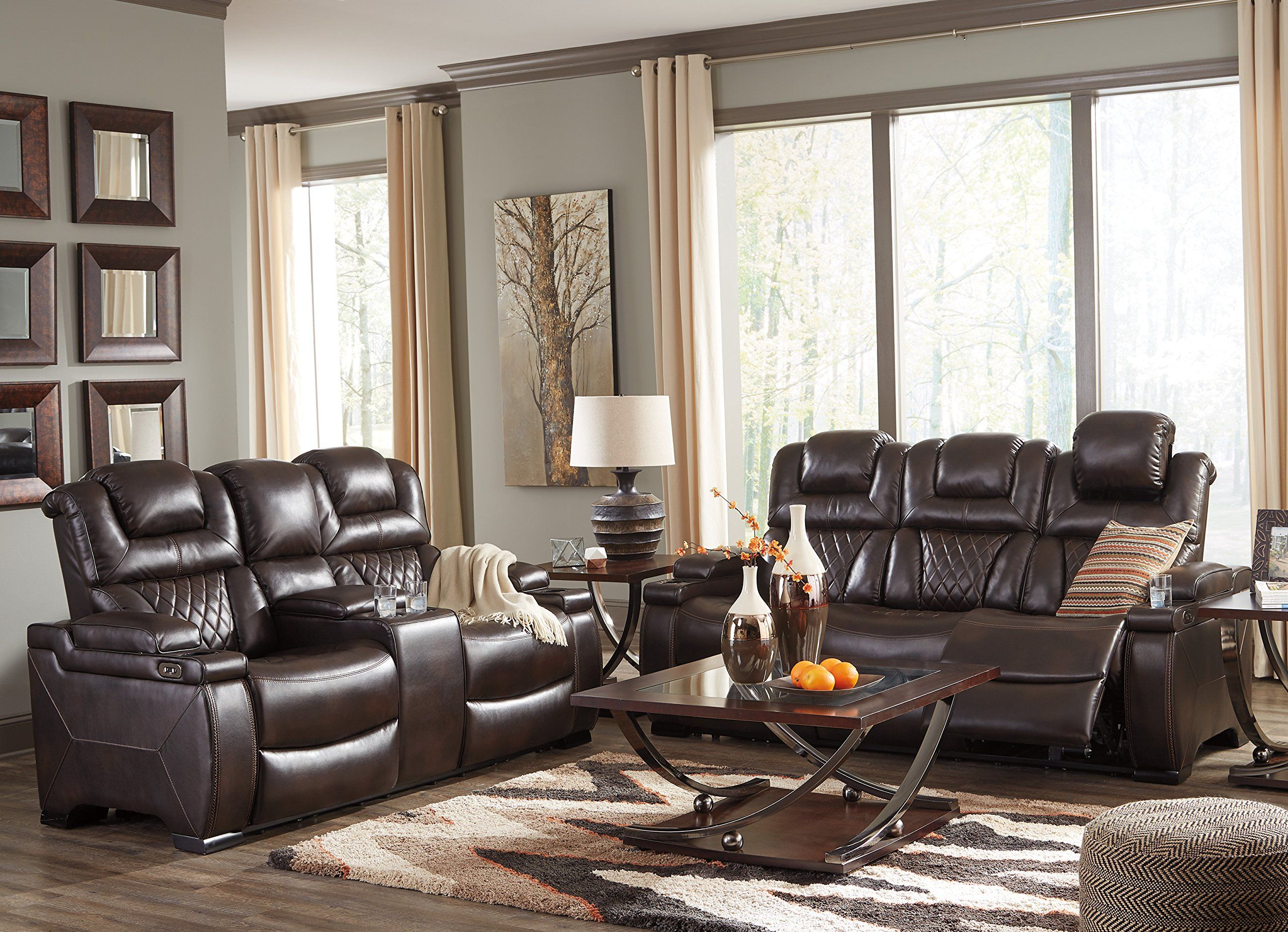 Warnerton Contemporary Chocolate Color Pu Leather Power Reclining Sofa Loveseat With Adjustable Headr Living Room Sets Loveseat Living Room Living Room Leather #warnerton #chocolate #power #reclining #living #room #set