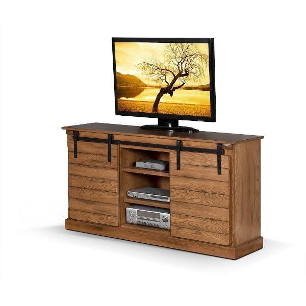 65 Inch Rustic Oak Barn Door Tv Stand Home Style