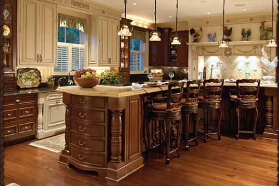 Dark Stain Base Cabinets And Mix Of Color Upper Kitchen Cabinets | Home  Depot Kitchen Cabinet