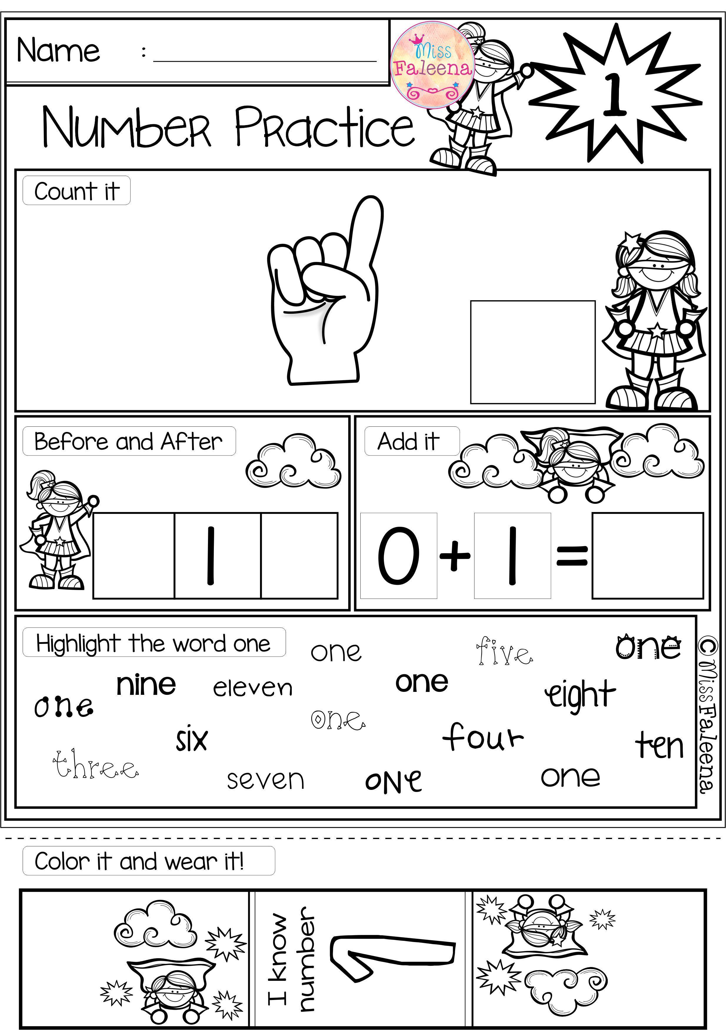 Free Math Practice Worksheets For Kindergarten
