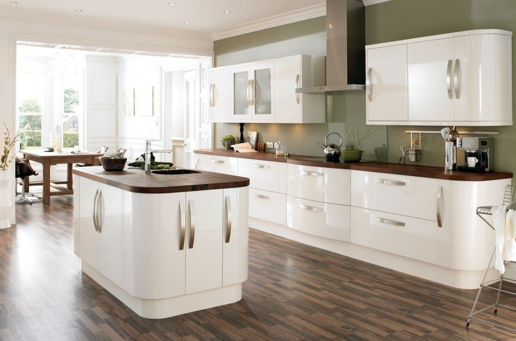 Best C L High Gloss Cream Slab 1 Kitchen Design White Gloss 400 x 300