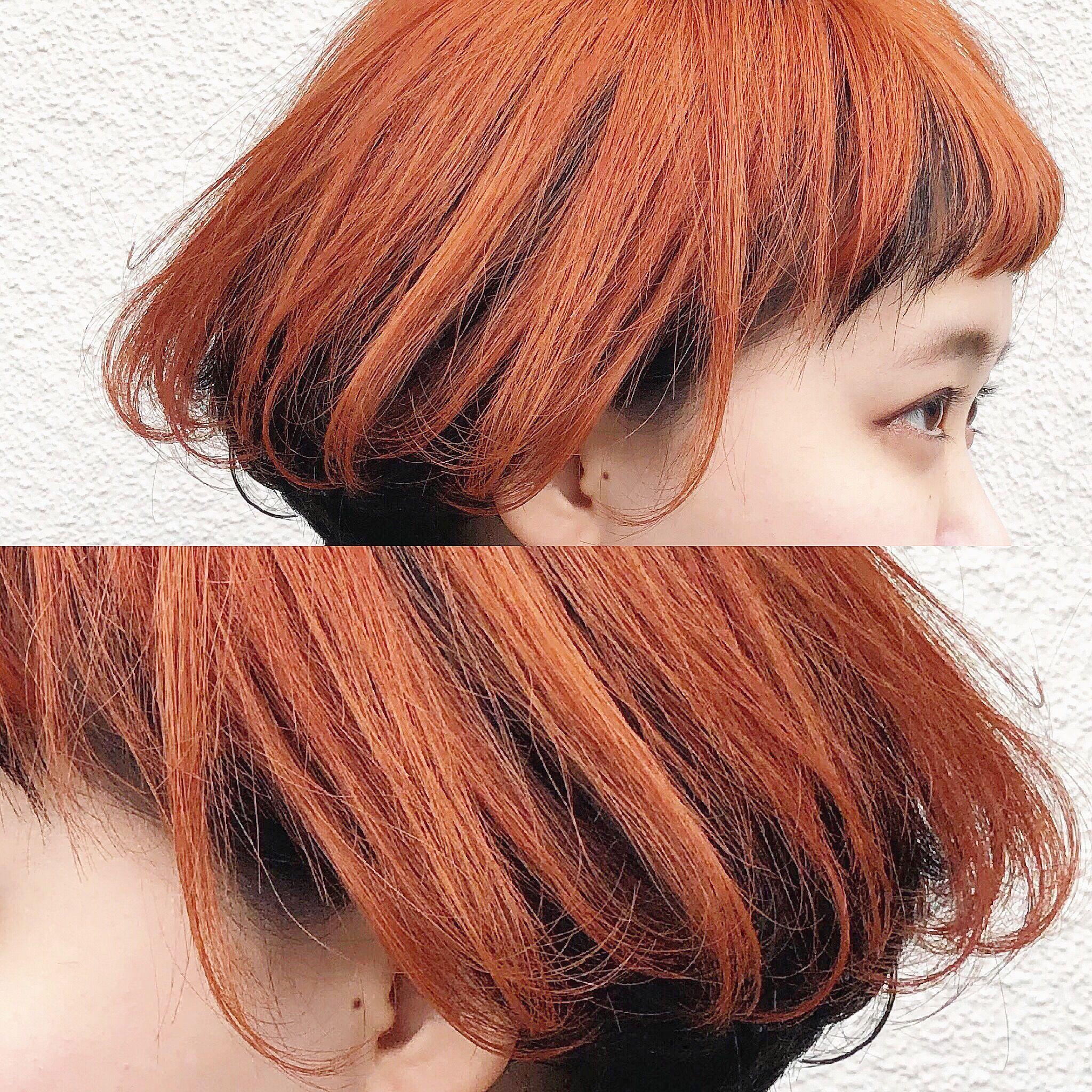 表面のみをダブルカラーで発色の良いカッパーオレンジに 2020 美髪 カラフルヘア オレンジ ヘアカラー