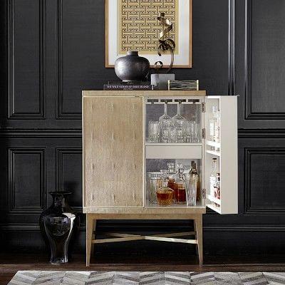 Seymour Bar Cabinet, Faux Shagreen, Mushroom moderne Bar - wohnzimmer ideen modern