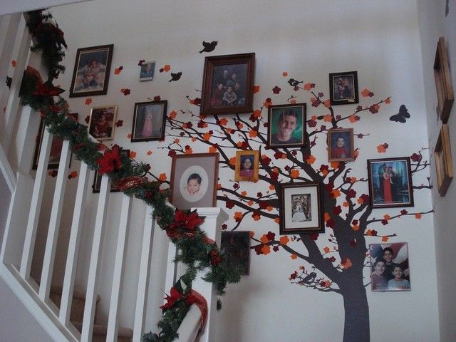 family tree wall decor with little flowers - stairs wall decoration