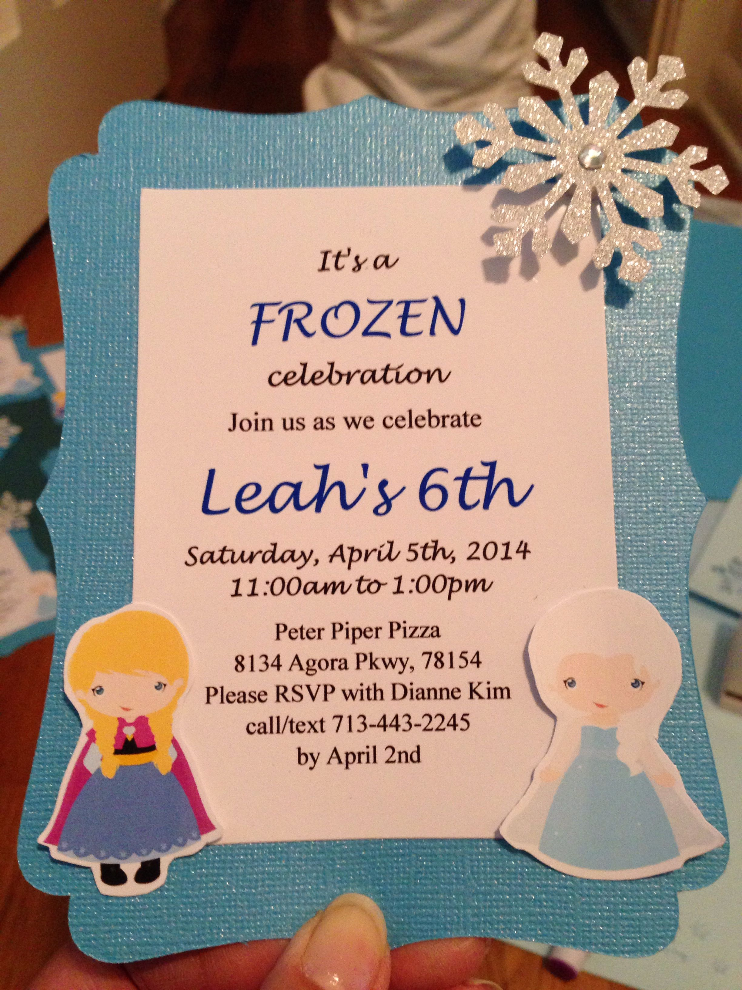 My daughter\'s Frozen birthday party invitations. | Crafts by Me ...