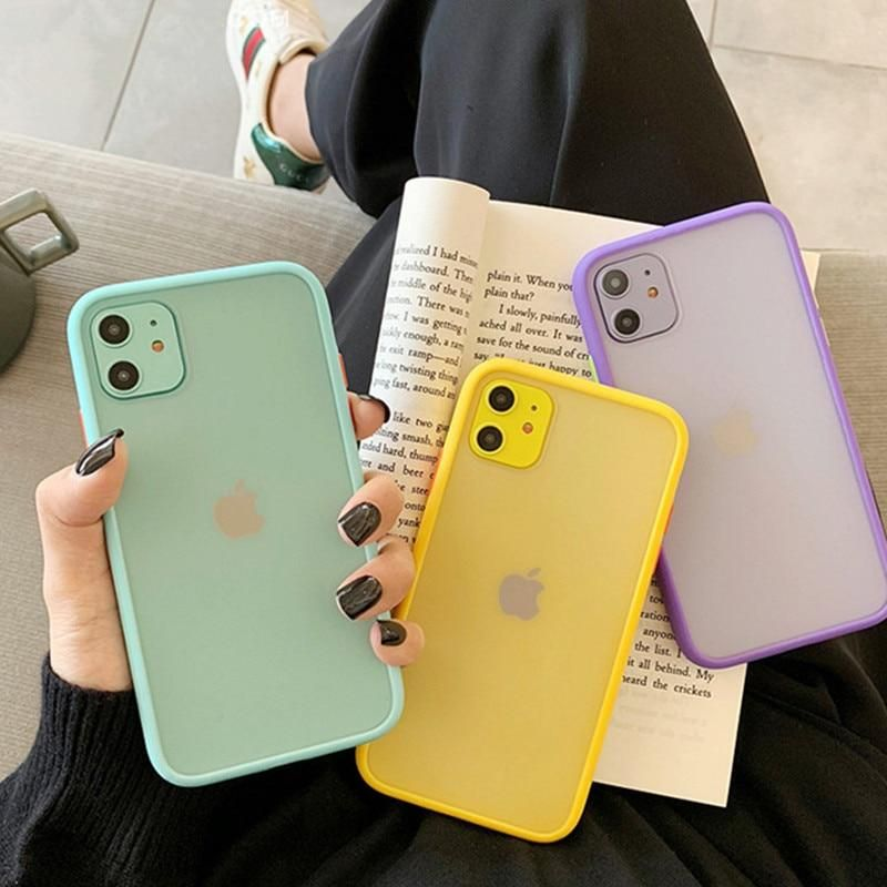 Mint Hybrid Simple Matte Bumper Phone Case Shockproof Soft Tpu Silicone Cover