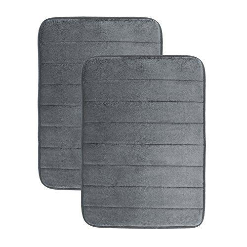 Luxor Linens Luxury Quick Dry Memory Foam Bath Mat Grey 2 Piece