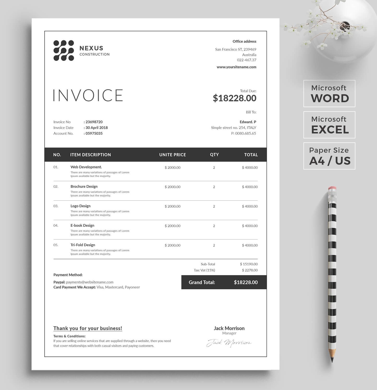 Invoice Template | Invoice Design | MS Excel  | Receipt | Word Invoice |  Business Invoice