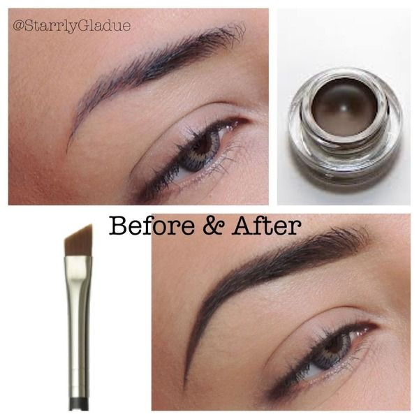 (Brows before and after) MAC's fluidline brow gelcreme in 'deep dark brunette' with the #263 angle brush.