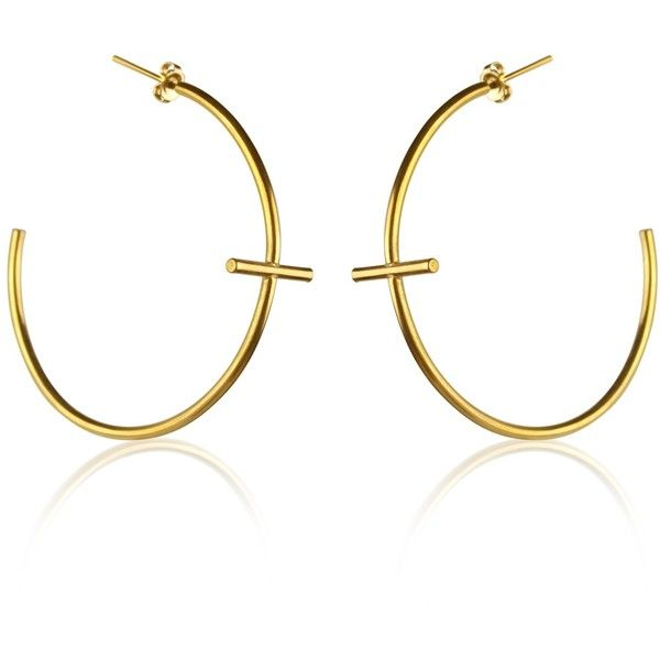 Marcia Vidal Large Gold Cross Hoop Earrings 250 Liked On Polyvore Featuring