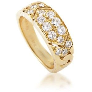 bfeda38134043 Pre-owned Van Cleef   Arpels 18K Yellow Gold Diamond Pave Band Ring ...
