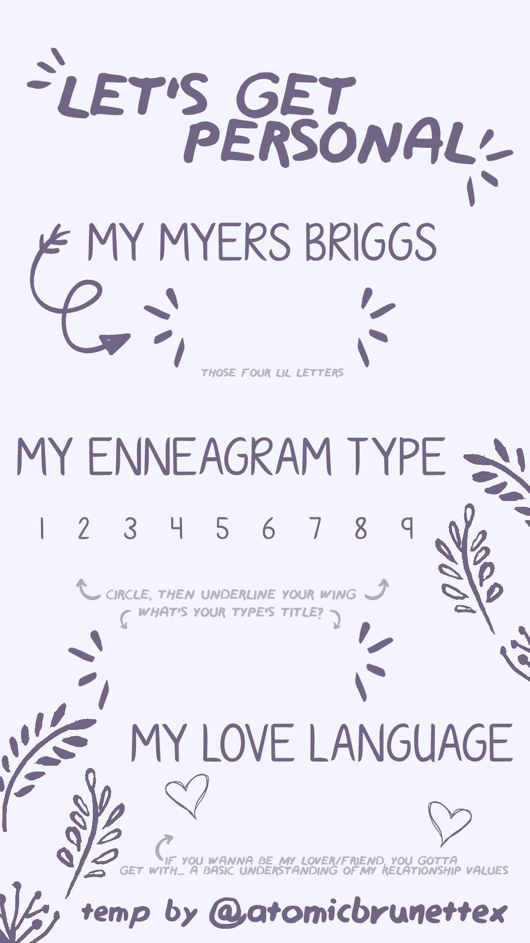insta story template myers briggs, enneagram, love