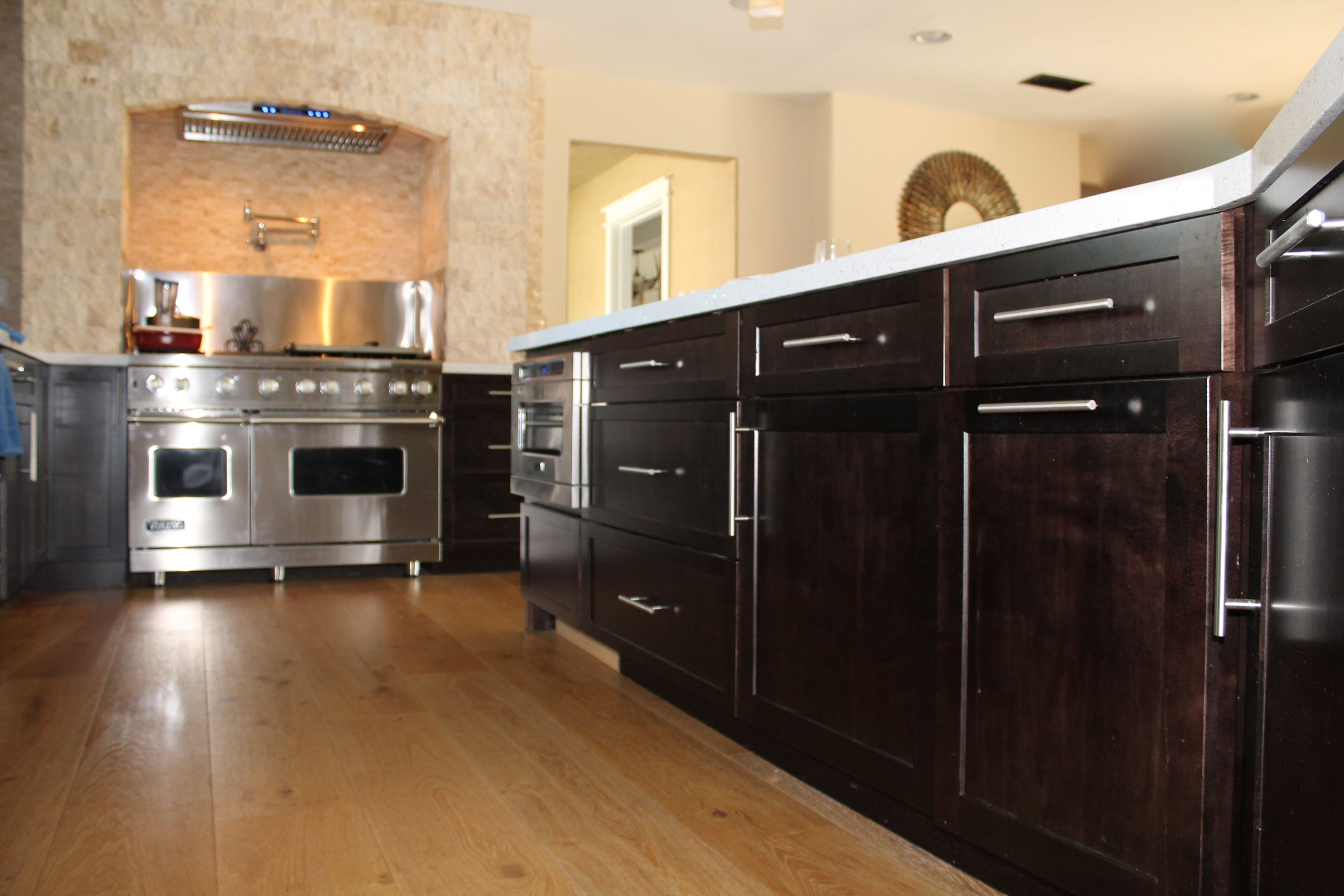 Dark shaker panel kitchen 9 wide plank oak wood