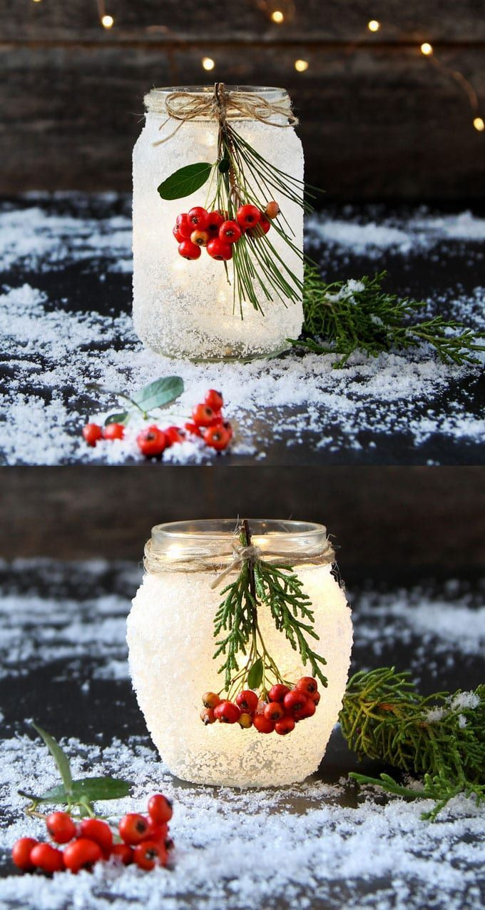 5 Minute DIY Snow Frosted Mason Jar Decorations {Magical!} #thanksgivingdecorations