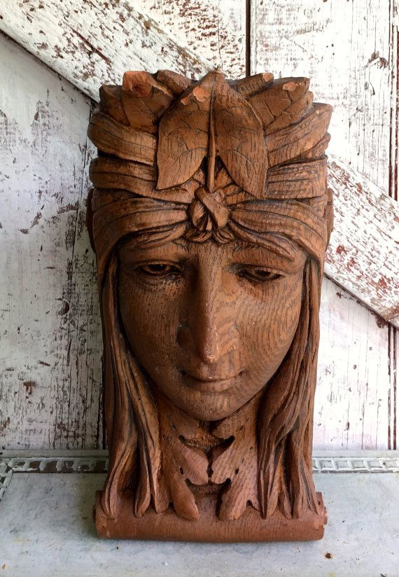 Vintage Corbel Womans Face Architectural Resin Plaster Wooden Nickel 78 Pottery