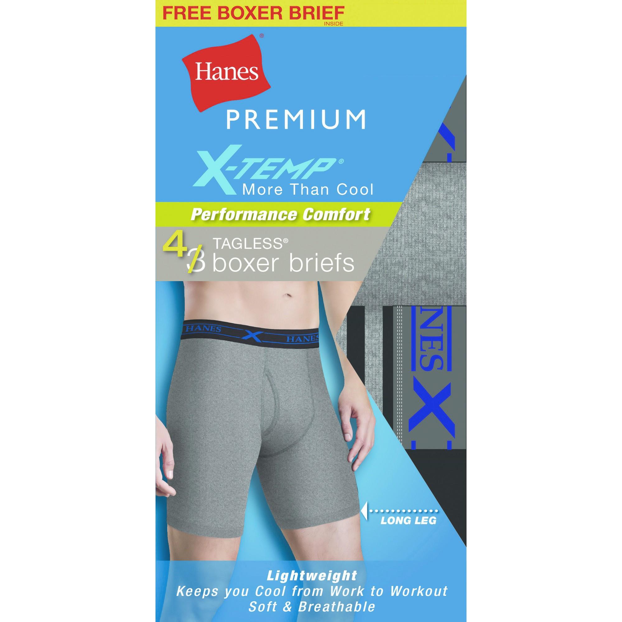Hanes Mens 3-Pack Boxer Briefs Comfort Flex Fit Breathable Mesh Long Leg FreshIQ
