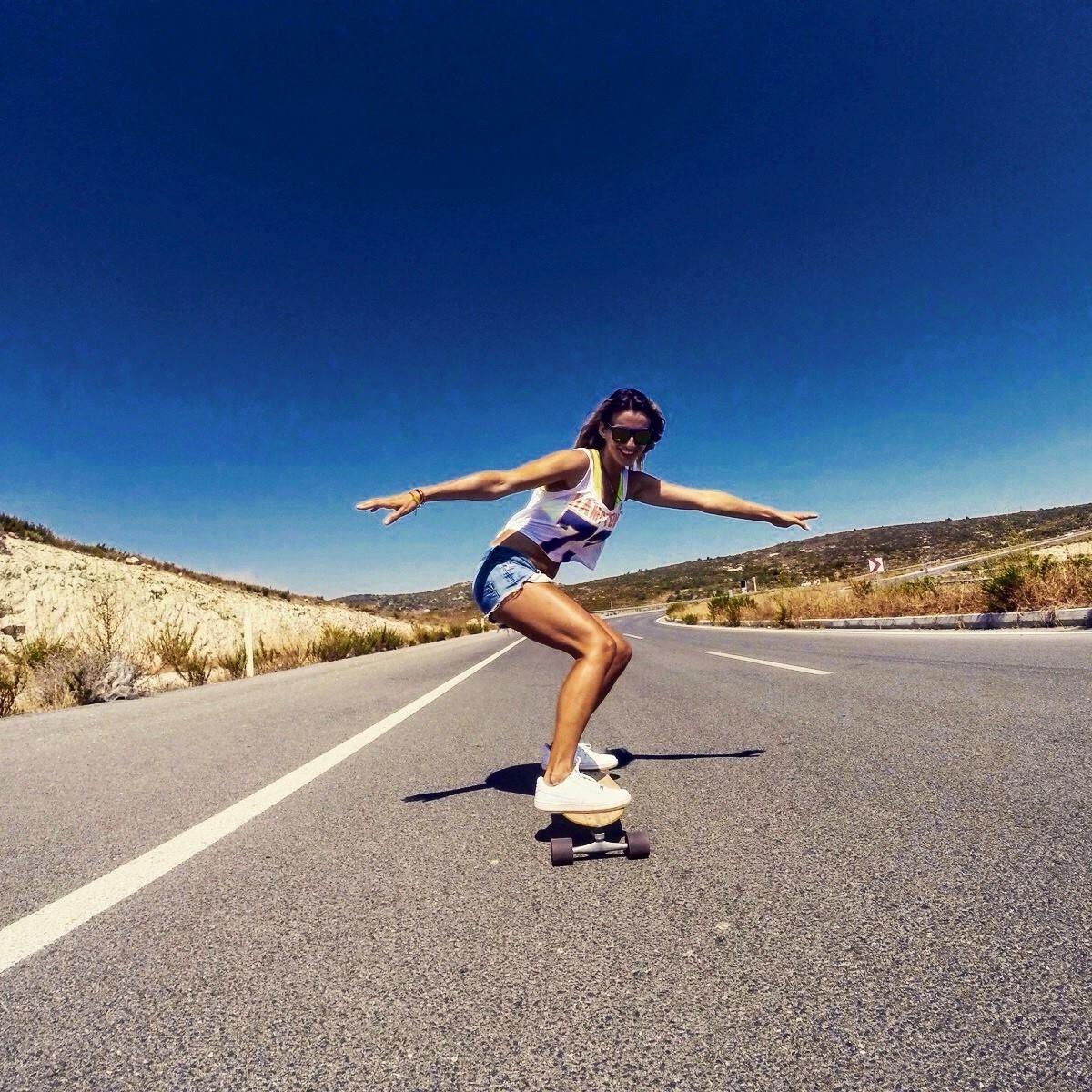 Výsledek obrázku pro girl on skate with long hair