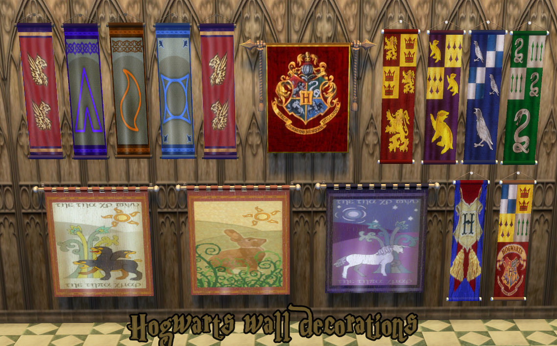 Mod The Sims Hogwarts Wall Decorations By Jh Sims 4 Sims Sims 4 Mods