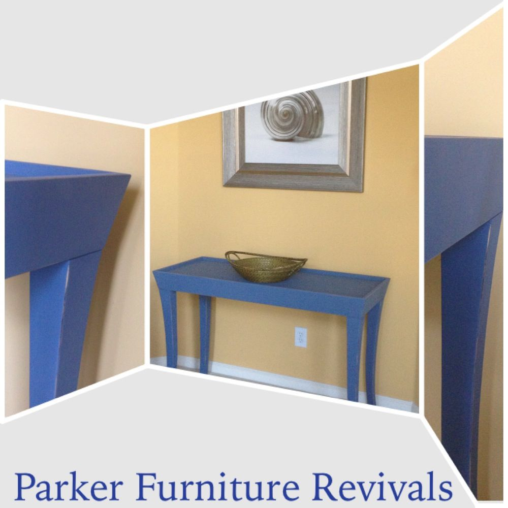 Painted with Martha Stewart chalk paint in Sailor Blue. Console ...
