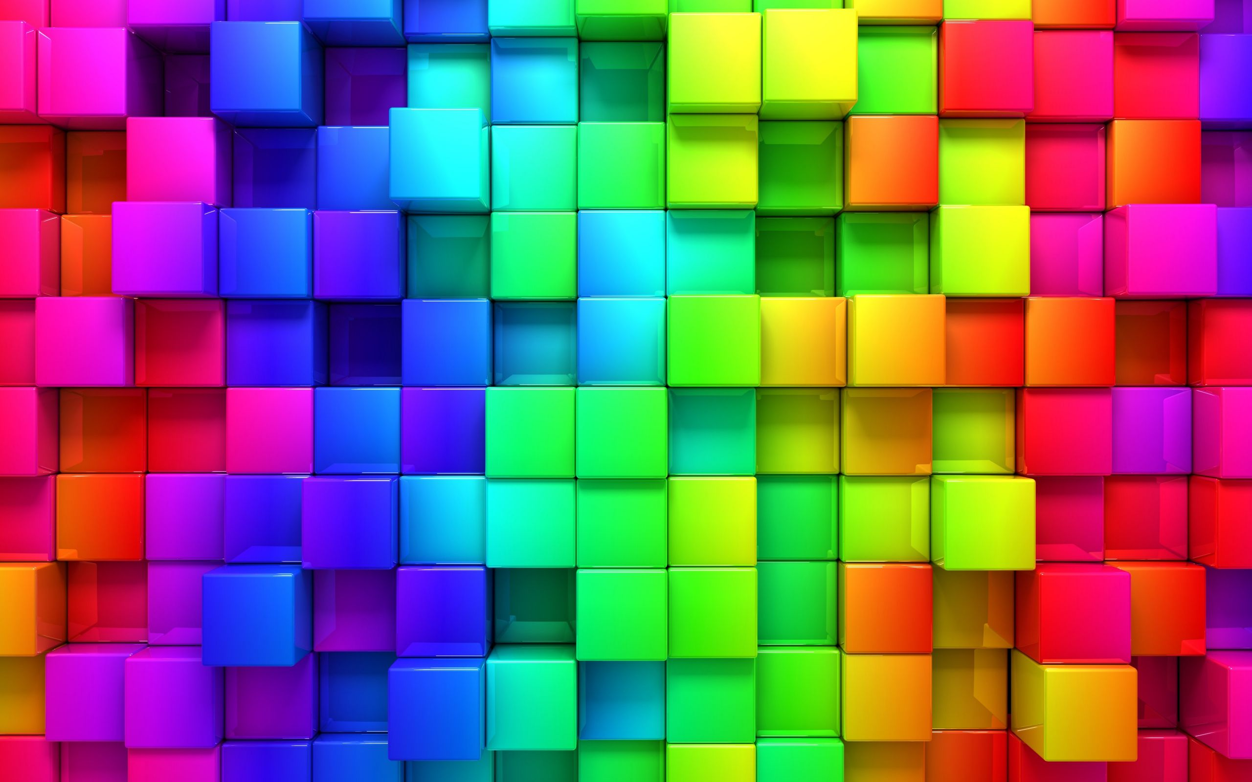 Hd Wallpaper Rainbow Color 3d Blocks Graphics Plano De Fundo