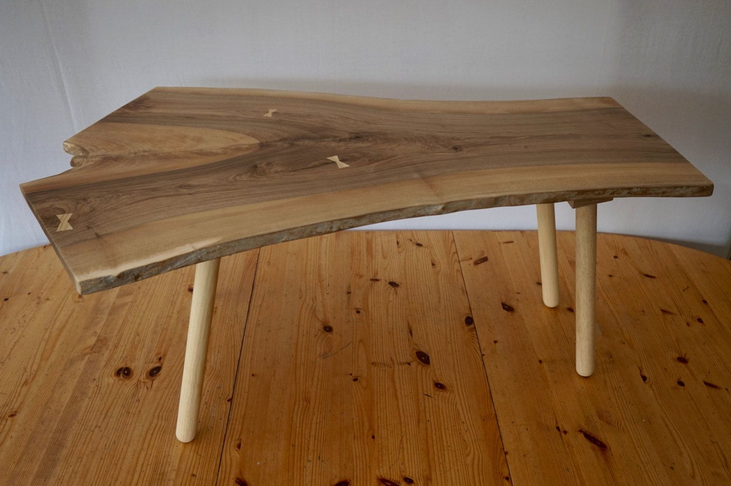 Hand Made Coffee Table With A Rare Piece Of Locally Sourced Solid English Walnut As The Top European Beech Legs And An Oak Frame