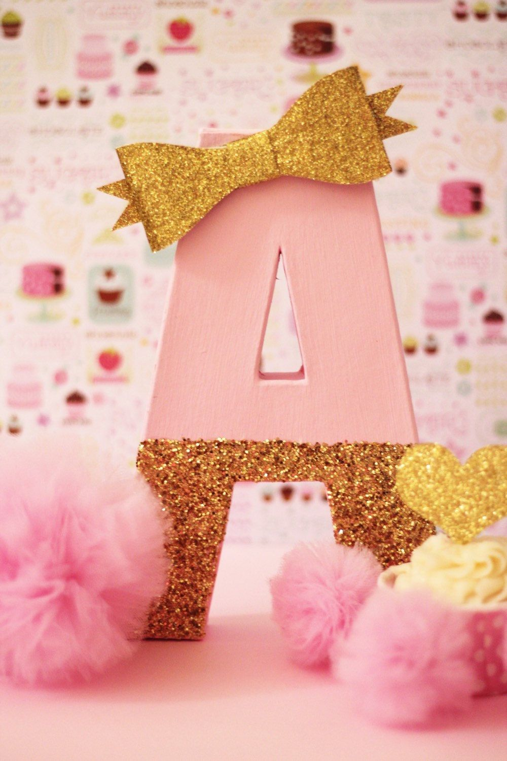 Pink and gold party decor cake table letters by pretty for Shoulder decoration 9 letters