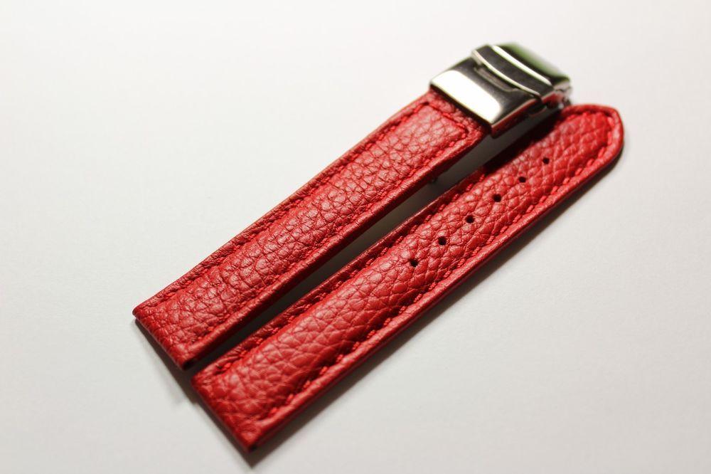 Schönes Uhrenarmband Leder Sicherheitsfaltschließe Leather Watch wrist 18 mm Neu