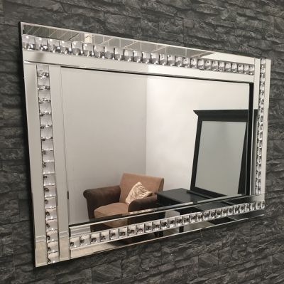 Glass Framed Mirror With Crystal Frame With Images Tile Mirror